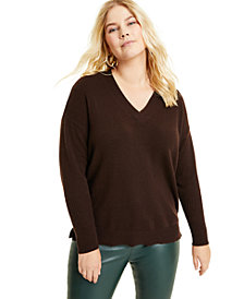 Charter Club Plus Size Cashmere Oversized V-Neck Sweater, Created for Macy's