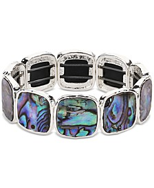 Silver-Tone Square Stone Stretch Bracelet, Created for Macy's
