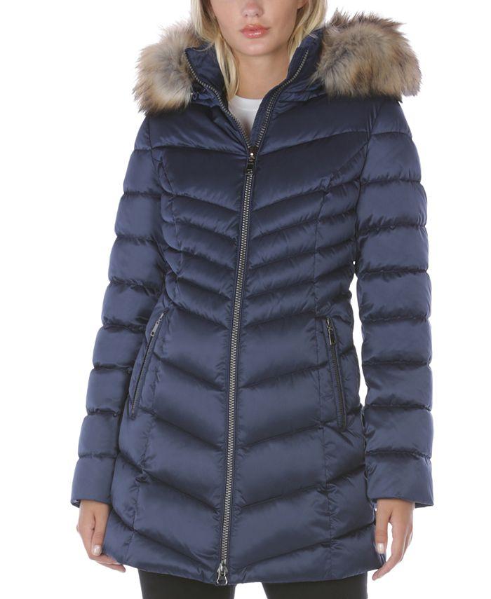 INC International Concepts - Faux-Fur Trim Hooded Puffer Coat