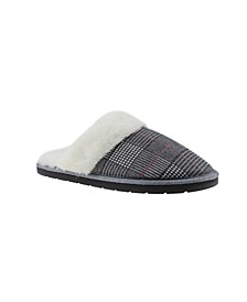 Kensie Women's Glitter Plaid Slip On Comfy Cozy House Slippers