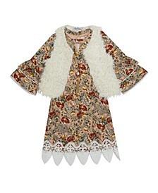 Big Girl Printed Dress With Faux Fur Vest