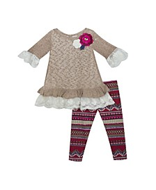 Toddler Girl Knit Sweater Set With Printed Leggings