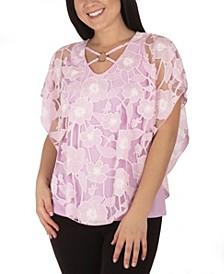 Women's Plus Size Knit Burnout Poncho