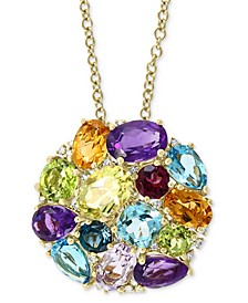 "EFFY® Multi-Gemstone (7-3/4 ct. t.w.) & Diamond (1/10 ct. t.w.) Round Cluster 18"" Pendant Necklace in 14k Gold"