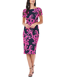 JS Collections Soutache-Trim Midi Dress