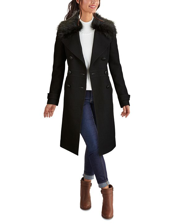 Kenneth Cole Double-Breasted Faux-Fur-Collar Coat, Created for Macy's