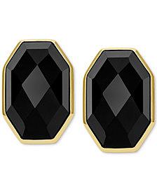 Vermeil Earrings, Black Agate Faceted Stud Earrings (26-5/8 ct. t.w.)