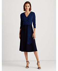 Two-Tone Jersey Surplice Dress