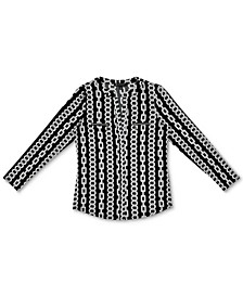 INC Plus Size Chain-Print Zip-Pocket Top, Created for Macy's