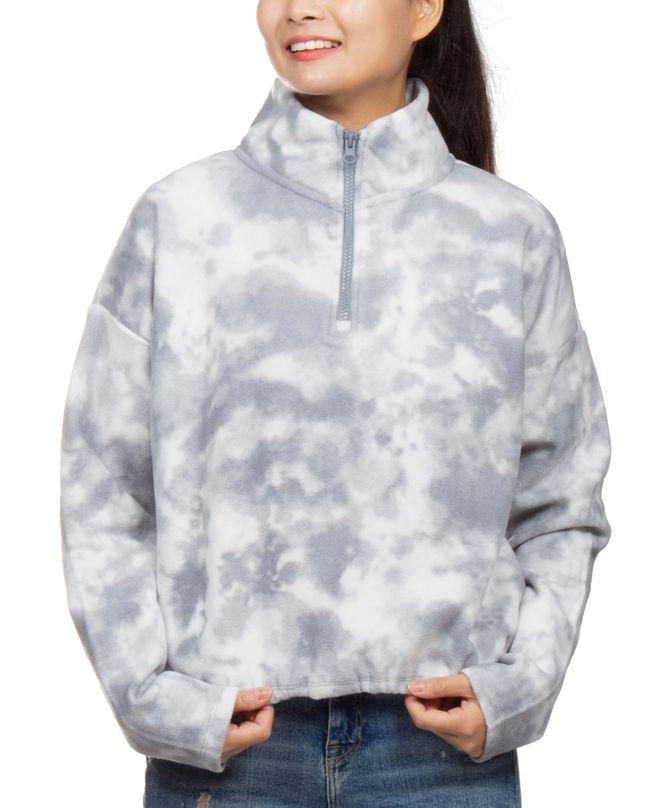 Hippie Rose Juniors' Tie-Dyed Fleece Quarter-Zip