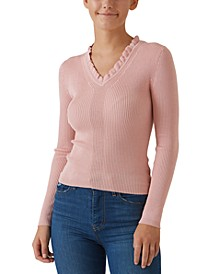 Juniors' Ruffled V-Neck Sweater