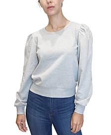 Juniors' Puff-Shoulder Sweatshirt