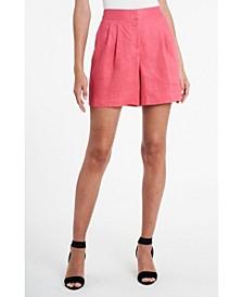 Women's Pleat Front Elastic Back Linen Shorts