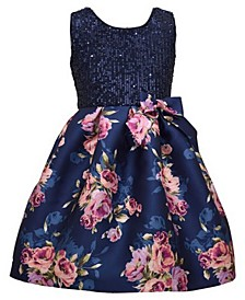 Big Girl Sleeveless Navy Sequin Bodice To Floral  Printed Mikado Pleated Skirt.