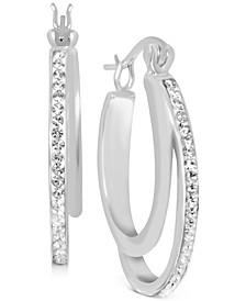 """Crystal Double Hoop Earrings in Fine Silver-Plate, 1.2"""""""