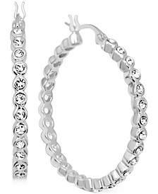Crystal Bezel Medium Hoop Earrings in Fine Silver-Plate, 1.37""