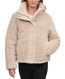 Faux-Sherpa Teddy Puffer Coat