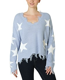 Juniors' Destructed Star Sweater