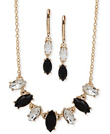 Gold-Tone Navette-Crystal Collar Necklace & Double Drop Earrings Set
