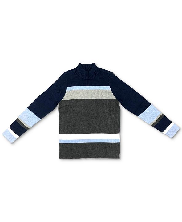 Karen Scott Cotton Colorblocked Striped Sweater, Created for Macy's
