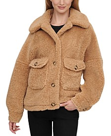 Button-Front Faux-Sherpa Teddy Coat