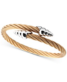 Cable Bypass Bracelet in 18k Rose Gold PVD Stainless Steel & Sterling Silver