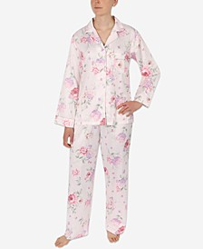 Petite 2-Pc. Printed Notch-Collar Pajama Set