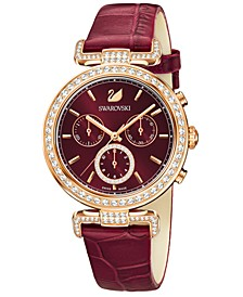 Women's Swiss Chronograph Era Journey Ruby-Pink Embossed-Leather Strap Watch 38mm