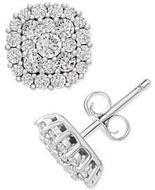 Certified Diamond Halo Cluster Stud Earrings (2 ct. t.w.) in 14k White Gold