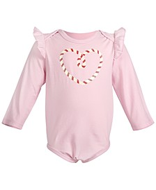 Baby Girls Candy Cane Heart Bodysuit, Created for Macy's