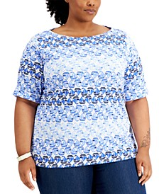 Plus Size Abstract-Print Top, Created for Macy's