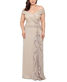Plus Size Off-The-Shoulder Shimmer Gown