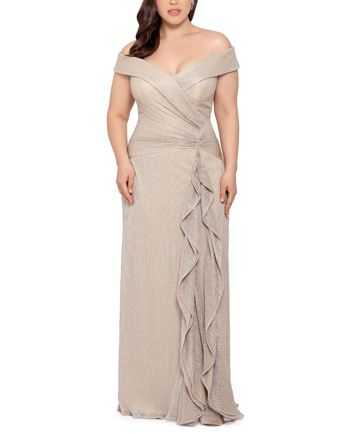 XSCAPE - Plus Size Off-The-Shoulder Shimmer Gown