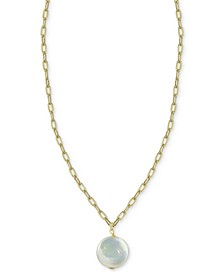 """Cultured Freshwater Baroque Pearl 16"""" Pendant Necklace in 14k Gold-Plated Sterling Silver"""