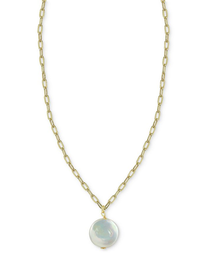"""Argento Vivo - Cultured Freshwater Baroque Pearl 16"""" Pendant Necklace in 14k Gold-Plated Sterling Silver"""