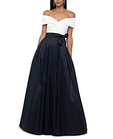 Off-The-Shoulder Colorblocked Gown