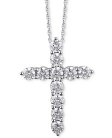 "Diamond Cross 16"" Pendant Necklace (3 ct. t.w.) in 14k White Gold"