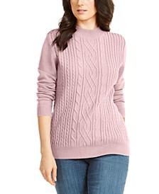 Cable Knit Mock Neck Sweater, Created for Macy's