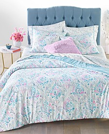 Reversible 3-Pc. Watercolor Damask-Print King Comforter Set, Created for Macy's