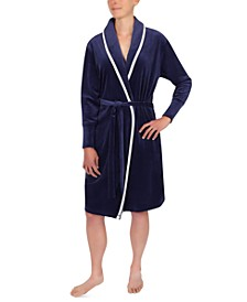 Contrast-Trim Wrap Robe