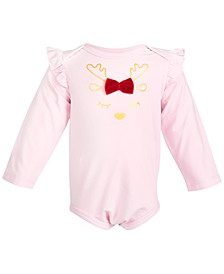 Baby Girls Reindeer Bodysuit, Created for Macy's