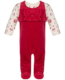 Baby Girls Rose Velour Coverall Set, Created for Macy's
