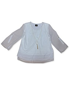Rolled-Tab-Sleeve Necklace Top, Created for Macy's