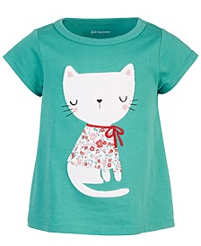 Baby Girls Holiday Cat Cotton T-Shirt, Created for Macy's