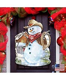by Dona Gelsinger Cowboy Snowman Wall and Door Hanger