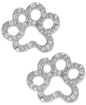 ASPCA® Tender Voices® Diamond Paw Stud Earrings in Sterling Silver (1/10 ct. t.w.)