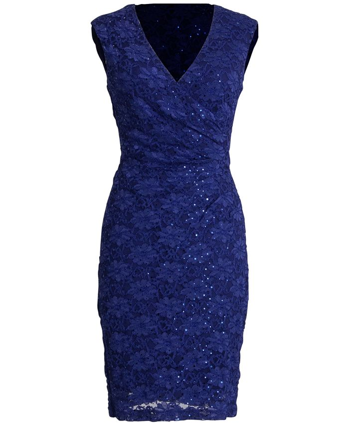 Connected - Cap-Sleeve Sequined Lace Dress