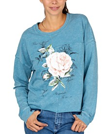 Juniors' Rose Crewneck Sweatshirt