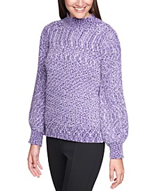 Marled Blouson-Sleeve Sweater