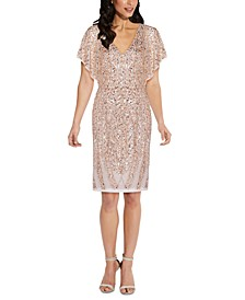 V-Neck Sequined Sheath Dress
